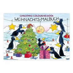 """Die Künstlerin Annett Rudolph lässt im Malbuch """"Pinguin-Weihnacht"""" niedliche Pinguine zwischen Eisschollen und Eismeer das Weihnachtsfest zelebrieren. https://www.graetz-verlag.de/malbuch-pinguin-weihnacht"""