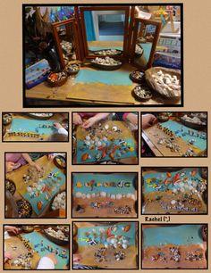 Beach Transient Art using a Painted Background (from Stimulating Learning with Rachel) Sea Activities, Creative Activities, Summer Activities, Dinosaur Activities, Creative Play, Reggio Emilia, Ocean Themes, Beach Themes, Reggio Classroom