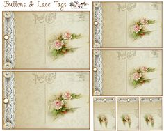Free Tags: Rose Lace Postcard Buttons