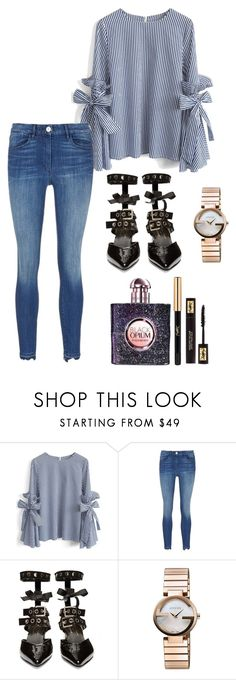 """""""black opium"""" by getdressedwithme on Polyvore featuring Chicwish, Robert Clergerie, Gucci i Yves Saint Laurent"""
