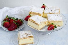 Cremsnit cu vanilie2 Feta, Camembert Cheese, Brownies, Cheesecake, Goodies, Dairy, Cooking Recipes, Baking, Sweet
