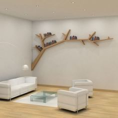 Branch is a one of a kind bookshelf-piece that is composed of over 80 pieces of birch plywood and veneered oak wire.