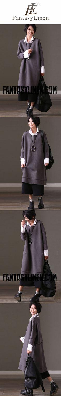 FantasyLinen Wool Loose Pure Dress, Women Literary Dress For Winter Q886A