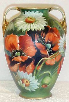 Antique Hand Painted Nippon (Old Noritake) Daisy And Poppy Floral Vase  -  eBay
