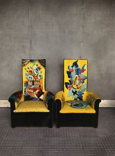 This fabric is huh-mazing! Chairs by Pierre Chareau at Maison de Verre