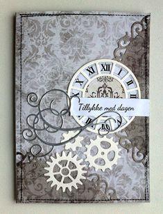 Card with clock and gears #clock - MFT Time pieces MFT clock die - Memorybox elegant scrollwork - JKE