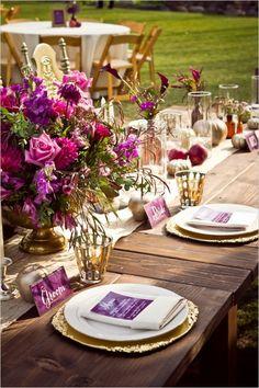 bride and groom place setting #purpleflowers #headtable #weddingchicks http://www.weddingchicks.com/2014/01/14/deep-purple-wedding/
