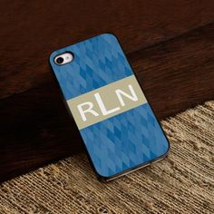 Personalized Black Trimmed iPhone cover - Blue Diamonds