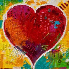 "54""x54"" Original Heart Painting"