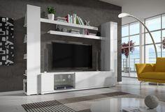 Pascal - obývací stěna (bílá/bílá lesk) | Jena nábytek
