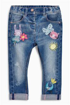 Verzierte Jeans mit Aufnähern, Denim mittelblau (3 Monate – 6 Jahre)