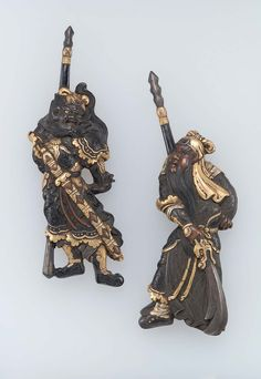 Pair of menuki in the form of Kan'u and Chohi. Japanese Edo period early to mid-19th century http://www.mfa.org/collections/object/pair-of-menuki-in-the-form-of-kanu-and-chohi-9821