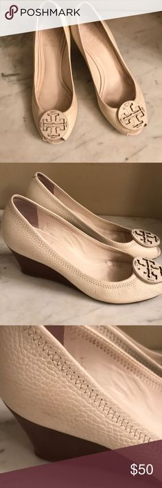 Tory Burch sally 2 ivory peep toe Tory Burch pebbled leather sally peep toe sandals Sz 7 Have lower wedge heel  These shoes do show some wear due to the light ivory color. They are in good shape and have a lot life left in them Great neutral color for spring Tory Burch Shoes Sandals
