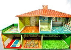 Vintage T. Cohn Tin Litho Spanish Style Dollhouse