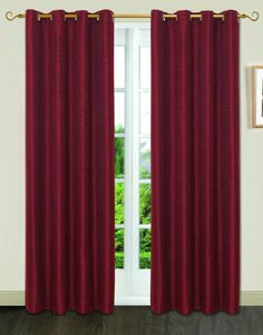 Amazon.com - Dainty Home Gloria Basket Weave Window Panel with 8 Metal Square Grommets, Burgundy