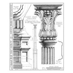 New Orleans French Quarter Mansion Architectural Drawing Blueprint... ($15) ❤ liked on Polyvore