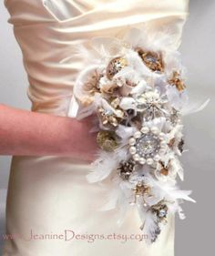 steampunk bouquets   Bridal Bouquet Steampunk Wedding Recycled Broach by JeanineDesigns, $ ...