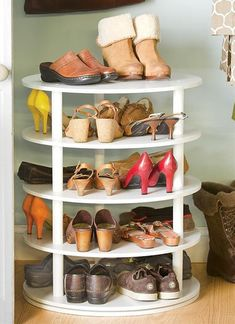 Shoes storage is one of the biggest challenges which you will face when you want to organize your room, the problem is that you have many shoe pairs, and everyday you will take one pair out and put another in, so the solution for this storage problem must contain space for all of your shoes, and provide easy access to any pair of them. Actually, there are many creative solutions for this problem, and each of them has it's own style, so you can choose the one that suits your room decoratio...