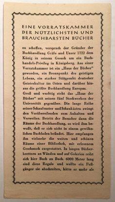 """Königsberg i. Pr. - """"Das Haus der Bücher"""" GRÄFE UND UNZER am Paradeplatz 6, Lesezeichen (Vorderseite), ca. 1933"""