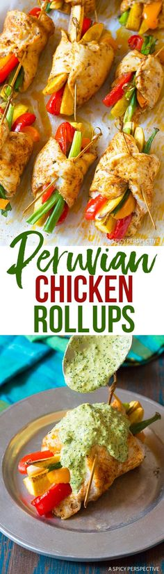 Peruvian Baked Chicken and Vegetable Roll Ups - A light and lean chicken dinner recipe made with chicken breast, plantains, bell peppers and scallions! via @spicyperspectiv