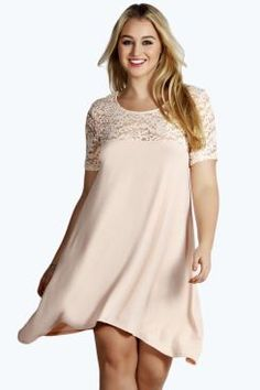 Plus Lucie Lace Panelled Swing Dress