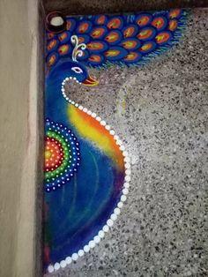 Rangoli Designs Peacock, Colorful Rangoli Designs, Rangoli Designs Diwali, Beautiful Rangoli Designs, Sanskar Bharti Rangoli Designs, Kolam Rangoli, Flower Rangoli, Indian Festival Of Lights, Festival Lights