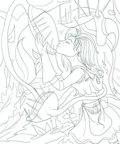 WIP Line art - my lil plant witch girl and her venus fly trap friends <3