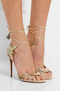 Aquazzura | + Poppy Delevingne Midnight metallic leather sandals | NET-A-PORTER.COM