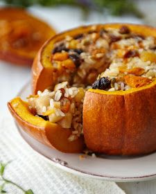 Baked Pumpkin with Rice and Fruits Stuffing Recipe Baked Pumpkin, Pumpkin Recipes, Veggie Recipes, Vegetarian Recipes, Stuffed Pumpkin, Rice Recipes, Thanksgiving Recipes, Fall Recipes, Recipes
