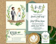 Invitación de boda floral rústico invitación de por ohlillydesigns