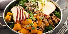 Kale Salad with Squash and Apples (incredible taste that is packed with nutrients) - www.thenutritionwatchdog.com