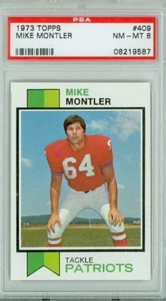 1973 Topps Football 409 Mike Montler Patriots PSA 8 Near-Mint to Mint by Topps. $7.00. This vintage card featuring Mike Montler is # 409 from the 1973 Topps Football set