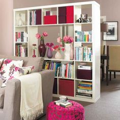 Room divider shelf concept. Close the backside to conceal the refrigerator. MDF? Paint for color visible as background behind shelves. Be able to hang art on kitchen side. Use baskets for storage.