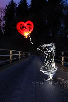 Light Painting - Illuminating Banksy's The Balloon Girl - Michael Bosanko - 10/05/2013