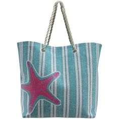 Turquoise & Pink Stripe Starfish Deluxe Oversize Beach Tote Bag ($27) ❤ liked on Polyvore featuring bags, handbags, tote bags, beach bag, totes, fashion bags, turquoise, oversized beach tote, oversized tote and pink tote