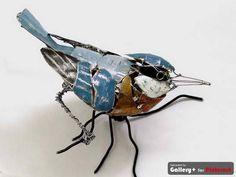 Recycled Metal Bird Sculpture by Barbara Franc