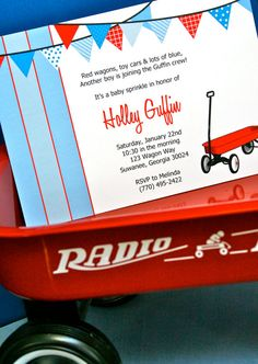 Love this red wagon boy's baby shower theme!