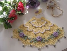 For inspiration. Crinoline Lady, Crochet Doily with Glass Beads