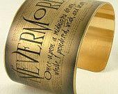 Edgar Allan Poe Jewelry - Nevermore - The Raven Literary Quote Brass Cuff - Book Gift
