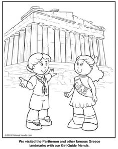 Greek Girl Guide Coloring Page Scout Games, Girl Scout Activities, Coloring Pages For Girls, Cool Coloring Pages, Girl Scout Troop, Girl Scouts, Greece Girl, Multicultural Crafts, Brownie Scouts