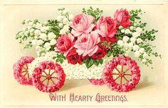1908 Auto Flowers Embossed Postcard