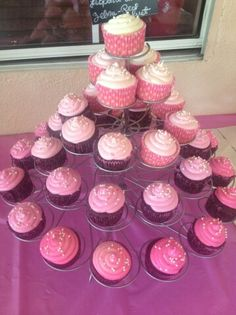 Pink ombre baby girl baby shower cupcake tower