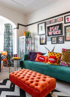 Living Room Interior, Home Living Room, Home Interior Design, Living Room Designs, Living Room Decor, Bedroom Decor, Pop Art Bedroom, Colorful Interior Design, Living Room Colors