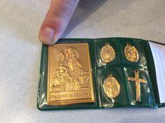 Vintage St. Anne Baby Mary Pocket Shrine Plaque Medals Crucifix Reliquary Plastic Case Italian Folde St Anne, Travel Set, Crucifix, Plastic Case, Shadow Box, Handmade Items, Mary, Faith, Pocket
