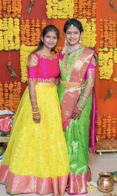 Telugu wedding ramparivar diamond jewelry gold vaddanam green an hour or two, pink traditional saree and lemon yellow lehenga Pattu Saree Blouse Designs, Half Saree Designs, Saree Blouse Patterns, Lehenga Designs, Half Saree Lehenga, Lehnga Dress, Kids Lehenga, Frock Dress, Indian Bridal Sarees