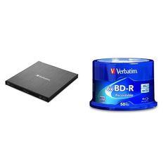 Verbatim External Slimline Blu-ray Writer w/ BD-R 25GB 6X 50pk Spindle