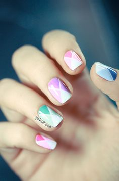 easy nail art tutorial - 3 shades for each color and white, along with some striping tape