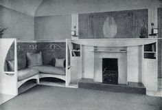 B/W photograph of drawing room fireplace and fitted seating