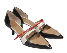 3e94081805 Super chic black and white shiny leather kitten heel pumps with bright red  strap details.