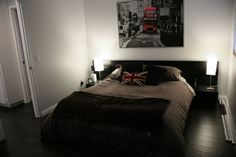 Ikea Malm queen bed frame Ikea lamps Ikea London picture Dark floors, grey walls grey walls, white trim grey and yellow grey walls, wood floors Wall paint: Valspar Silver Dust Eggshell, Ceiling paint: Valspar ultra white flat, Trims/Doors paint: Valspar Ultra White semi-gloss